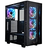 ROSEWILL ATX Mid Tower Gaming Computer Case with Tempered Glass and RGB LED Lighting, Support Up to 360mm GPU, 360mm Liquid-cooling,4x 120mm RGB Computer Case Fan Pre-installed and Remote Control