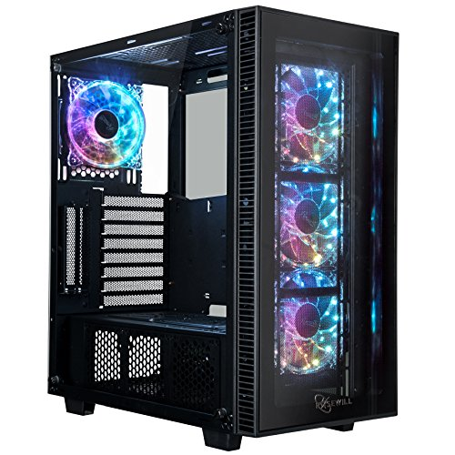 System External Cooling Water - ROSEWILL ATX Mid Tower Gaming Computer Case with Tempered Glass and RGB LED Lighting, Support Up to 360mm GPU, 360mm Liquid-cooling,4x 120mm RGB Computer Case Fan Pre-installed and Remote Control