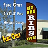 BEST BBQ RIBS EVER Windless Polyknit Feather Flag (3 x 11.5 feet)