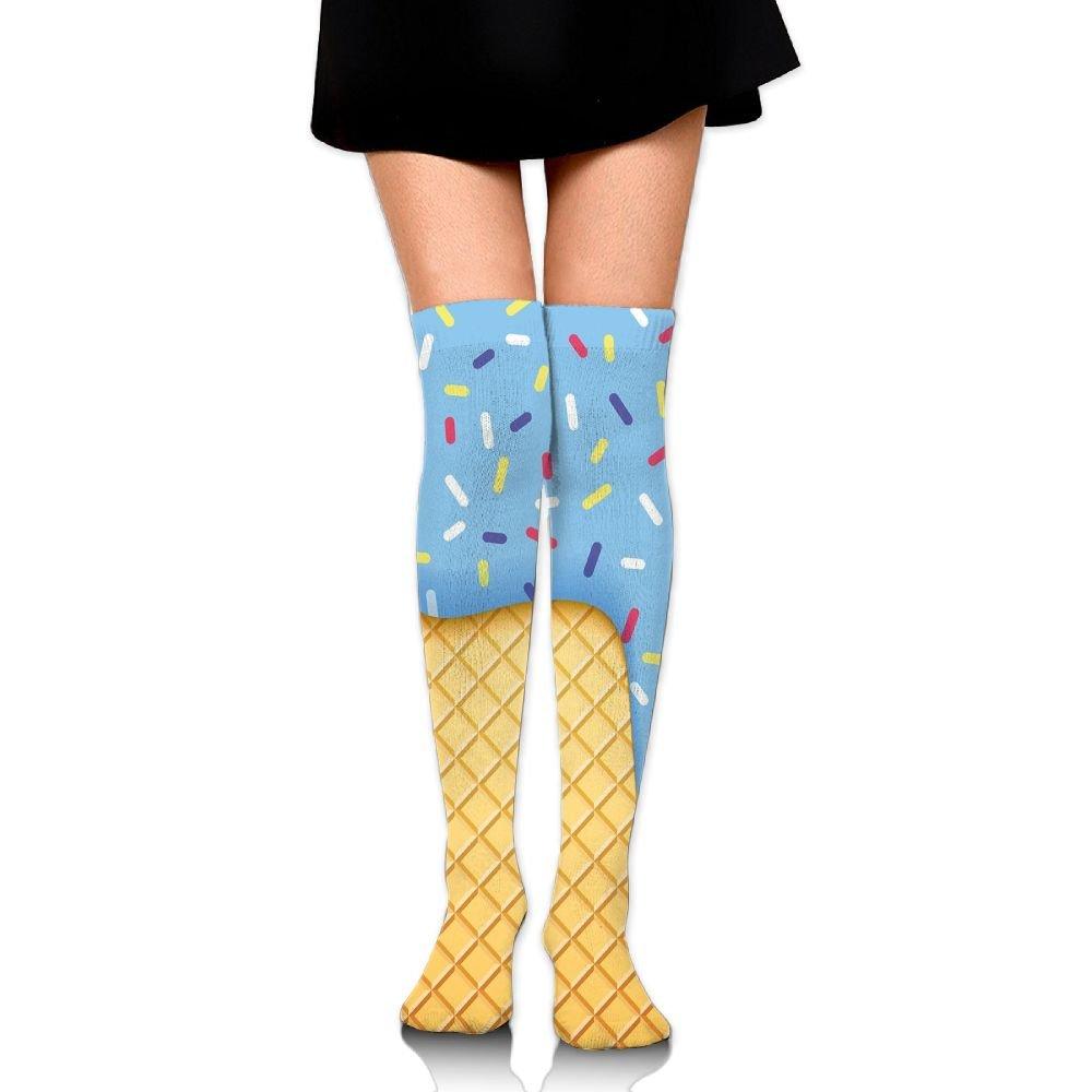 TRUSTINEEgyl Woman Waffle Background With Sky Blue Flavor Yummy Sweet Summer Season Artful College Style Warm Crochet Socks