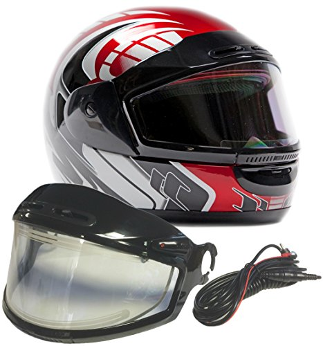 Typhoon Helmets Adult Snowmobile Helmet with Electric Heated Shield Mens Womens Full Face Dual Lens - Red (XXL) Electric Snowmobile Shield