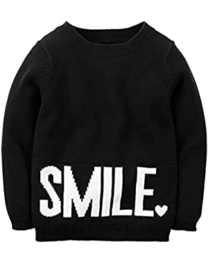 Girl Smile Sweater; Black/White; 3 Months