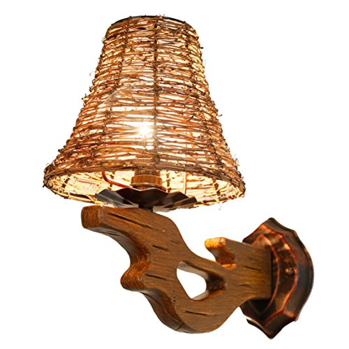HZB Rattan Wall Lamp Living Room American Style Back To The Ancient Mediterranean Tea House Creative Solid Wood Living Room Lamp ()