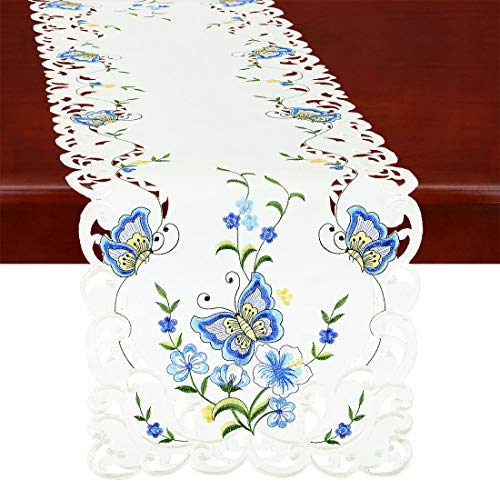 Simhomsen Spring Butterfly and Floral Table Runners, Dresser Scarf (Blue, 14 × 54 Inch)