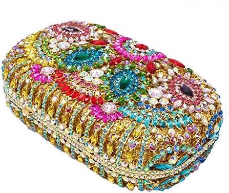 XLJJB Évider Bohème Multicolores Femmes Soirée De Mariage Cristal Embrayage Sac À Main Bourse Embrayages en Métal Sac1