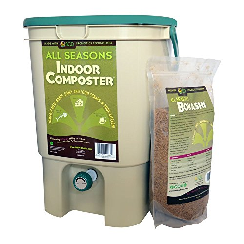 SCD Probiotics K100 All Seasons Indoor Composter Kit, Tan Bucket with Bokashi Bokashi Kit