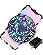 Deamos [2020 UPGRADE] Magic Array Wireless Charger with [QC3.0 Adapter], Ultra-Thin Qi Wireless Charging Pad, 7.5W for iPhone 11 Pro MAX/X/XS/MAX/8/8 Plus, 10W Fast Charging Galaxy S10e Plus/Note 9/S9/S8 Edge and More Cool black(QC3.0 ADAPTER INCLUDED)