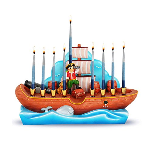Zion Judaica Polyresin Pirate Ship Menorah