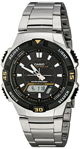 Mens Multifunction Analog - Casio Men's AQS800WD-1EV Slim Solar Multi-Function Analog-Digital Watch