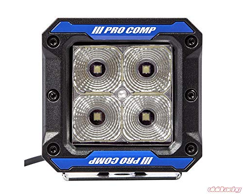 Pro Comp Suspension 76413P S4 Gen3 Flood Light Clear Amp Draw: 1.36/12V 0.68/24V 20 Watts 3.25w x 3.75h x 3.1d 3800 Polyester Powder Coat Shock Resistant IP 67830 Raw Lumens Pair S4 Gen3 Flood Light