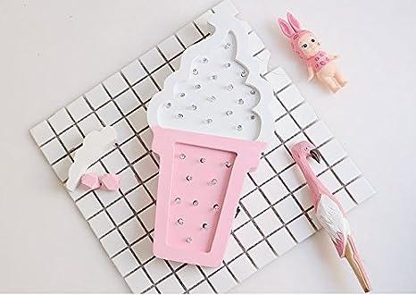 Amazon.com: urtoys 1pcs Blanco y Rosa Ice Cream luz LED de ...
