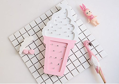 URToys 1Pcs White and Pink Wooden Ice cream LED Night Light Wall Hanging Decor Lamps Atmosphere Lighting Party Wedding Birthday Party Decoration Kids' Room Decoration