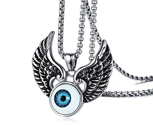 (Men's Blue Evil Eye Stainless Steel Wings Dog Tag Pendant Amulet)