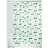 InterDesign Frogs Shower Curtain- PVC Free ,72 x 72, Green