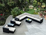 Ohana 14-Piece Outdoor Patio Furniture Sectional Conversation Set, Black Wicker with Beige Cushions – No Assembly with Free Patio Cover