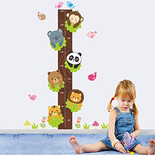 Forest Panda Tiger Lion Monkey Height Measure Wall Stickers for Kids Rooms Decor Cartoon Animals Growth Chart Wall Decals - Tiger Lily Nursery