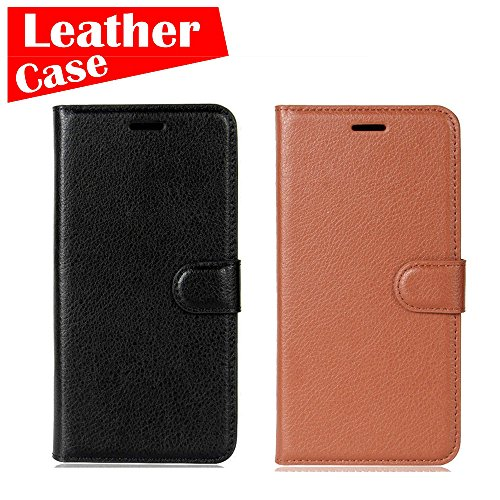 Apple iPhone 8, 2 Pack case [Black+Brown] [eBuyLife] Phone Case, Leather Wallet Slim Soft Folio Cover Credit Card Slots Cash Clip Stand Holder Magnetic - Liv Charge Cover