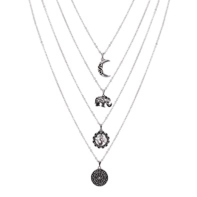 Image Unavailable. Image not available for. Color  Wcysin Women Girls Dual  Layer Elephant Moon Pendant Necklace Fashionable Chain Choker Necklace  Silver e69da3b5e503