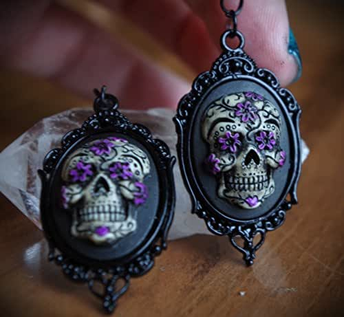 Black & Purple Black Setting Sugar Skull Calavera Day of the Dead Dia De Los Muertos Hand Made Earrings