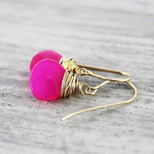 (Hot Pink Chalcedony 14kt Gold Fill Earrings)