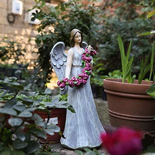 屋内噴水風水装飾庭の庭庭屋外庭アメリカのカントリーガーデン樹脂キャラクターリトルエンジェル花妖精の庭と庭動物像