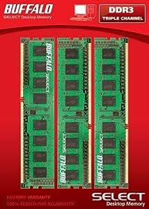 Buffalo  D3U1333-T6G/BR Select DDR3 DIMM PC3-10700 1333MHz 6 GB (3 x 2 GB) Triple Channel Memory Kit