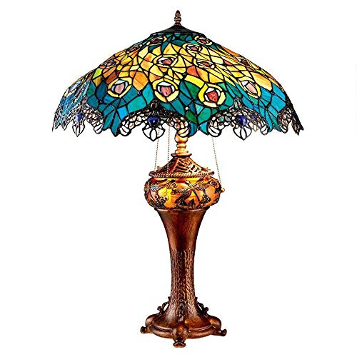 (Design Toscano Art Nouveau Peacock Tiffany Style Stained Glass Table Lamp, Full Color)