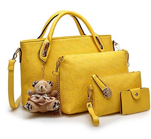 AMSS Leather Handbag Messenger Bag for Ladies + Small Bag+Bear Key Chain+Wallet, 5pcs Set (Yellow)