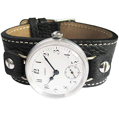 Fluco Vigo 14mm Riveted Black Leather Cuff Watch Strap