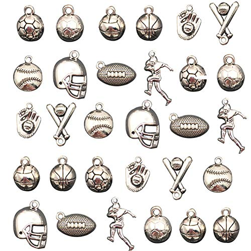 - Ginooars Pack of 30 Soccer Basketball Volleyball Baseball Athlete Helmet Charms Pendant Supplies for DIY Hand Crafting Necklace Bracelet Jewelry Making