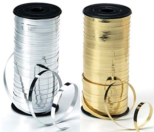 2-Pack - Silver & Gold - Curling Ribbon Bundle - 5mm wide - 1 Spool of Gold plus 1 spool of Silver - 100yds (Darice Silver Ribbon)