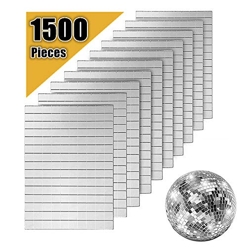 AIVS Self-Adhesive Real Glass Craft Mini Square & Round Mirrors Mosaic Tiles/Stickers for DIY Craft Decoration,1500 Pieces