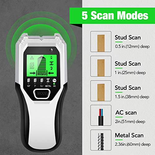 Stud Finder Sensor Wall Scanner - 5 in 1 Electronic Stud Sensor Locator Wall Wood Beam Joist Finders Wall Detector Edge Center Finding with LCD Display for Wood Live AC Wire Metal Studs Detection