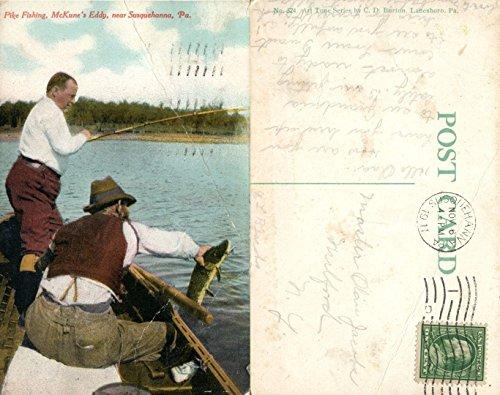 - McKUNNE'S EDDY NEAR SUSQUEHANNA PA FISHING 1911 ANTIQUE POSTCARD