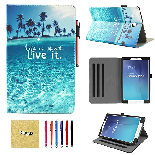 Samsung Galaxy Tab E 9.6 Case, SM-T560 Case, Dluggs Slim Fit Lightweight Multi-Angle Viewing PU Leather Folio Stand Case for Galaxy Tab E/Tab E Nook 9.6 Inch Tablet, Beach