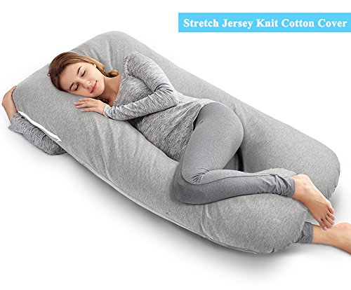 U Comfort Support Pillow Body (AngQi 55-inch Full Pregnancy Pillow, U Shaped Maternity Body Pillow for Pregnant Women and Baby, with Washable Stretch Jersey Cover, Gray)