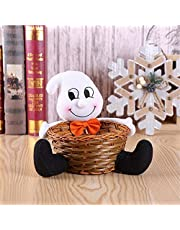 Halloween Decor Muppet Candy Basket, Halloween Candy Bowl, Bamboo Weaving Basket Pumpkin Witch Tabletop Decor Candy Dish, Halloween Trick or Treat Bucket, Halloween Decorations Party Favors-Ghost