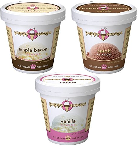 Puppy Ice Cream - Puppy Cake Puppy Scoops Ice Cream Mix - Variety Pack of 3, Includes: 1-Maple Bacon , 1-Carob, and 1-Vanilla Ice Cream Mix