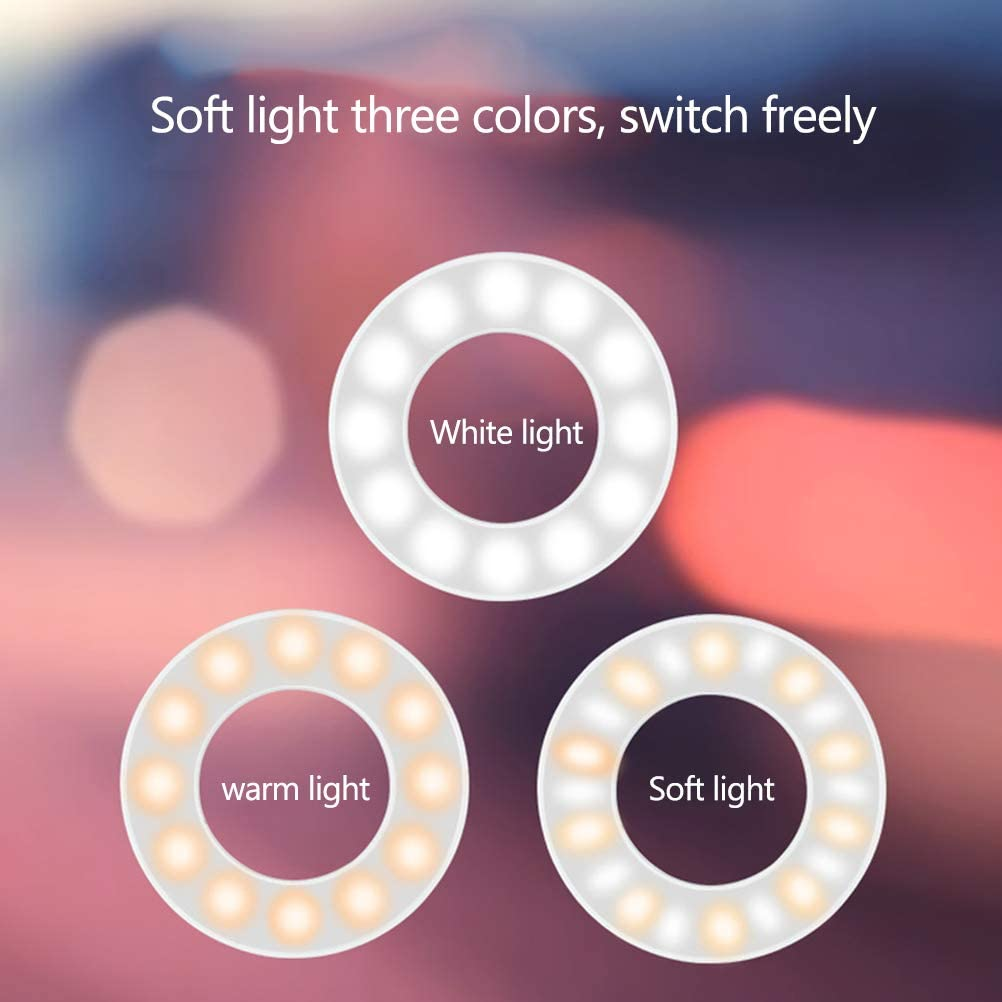 Dimmable 3-in-1 Selfie Ring Light with Mobile Phone Holder Lazy Mobile Phone Holder for Live Makeup Lighting