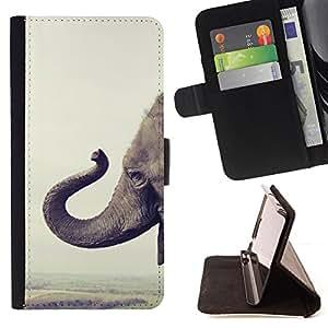 BullDog Case - FOR/Sony Xperia Z1 Compact D5503 / - / elephant Africa happy animal nature /- Monedero de cuero de la PU Llevar cubierta de la caja con el ID Credit Card Slots Flip funda de cuer