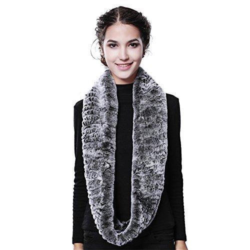 Women Winter Infinity Fur Scarf - Real Rex Rabbit Fur Cowl Snood Neck Warmer Scarves FURTALK Original (Looped Scarf)