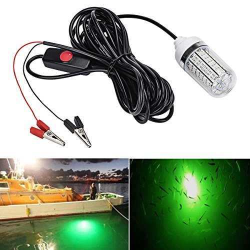 Autai Fishing Light Green Color 12V 15W Deep Drop Underwater Light Fishing Lures Fish Finder Lamp Attracts Fish Prawns Squid Krill Fish Boat Lamp