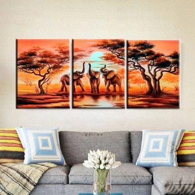 Canvas Wall Art African Elephants Painting Print on Canvas Wall Art 12\