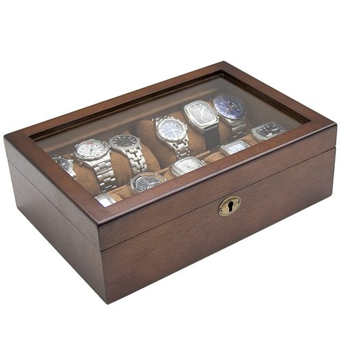 amazon com caddy bay collection vintage wood watch box display amazon com caddy bay collection vintage wood watch box display storage case chest glass top holds 10 watches adjustable soft pillows and high