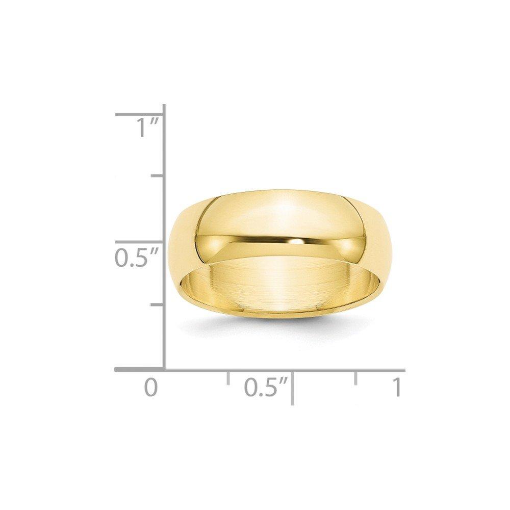 10K Yellow Gold 7mm Half Round Band Ring