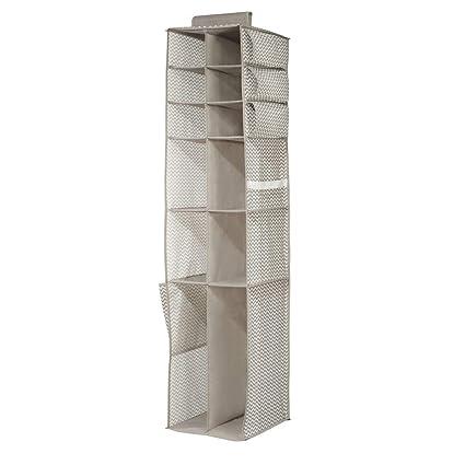 mDesign estanteria colgante gris oscuro/natural para organizar la ropa de bebe - Organizador de ropa para colgar en su armario - Con 16 compartimentos: ...