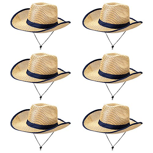 6-Pack Australian Dundee Safari Hat Halloween Costume Accessory - Dress Up Theme Party Roleplay & Cosplay Headwear ()