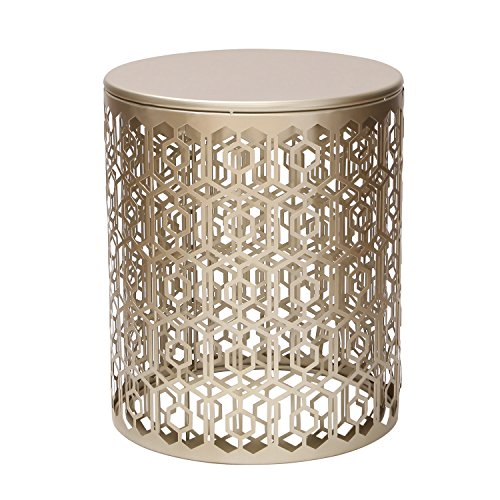 Joveco Metal Iron Strip Structure Stool End Table Side Table Gold Set Of 2 Furniture Tables