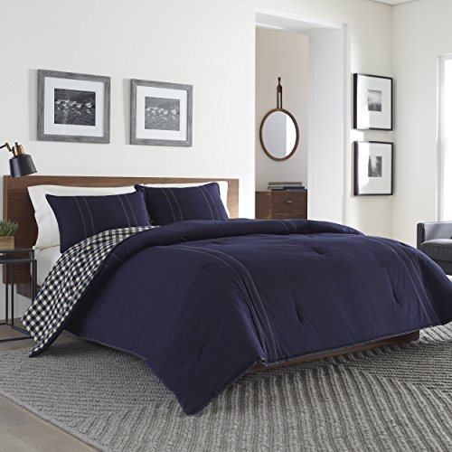 Eddie Bauer 216693 Kingston Reversible Comforter Set, Full/Queen,Navy - Eddie Bauer Comforter