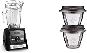 Vitamix A3300 Ascent Series Smart Blender, Professional-Grade, 64 oz. Low-Profile Container, Black Diamond, Full Size & Ascent Series Blending Bowls, 8 oz. with SELF-DETECT, Clear - 66192